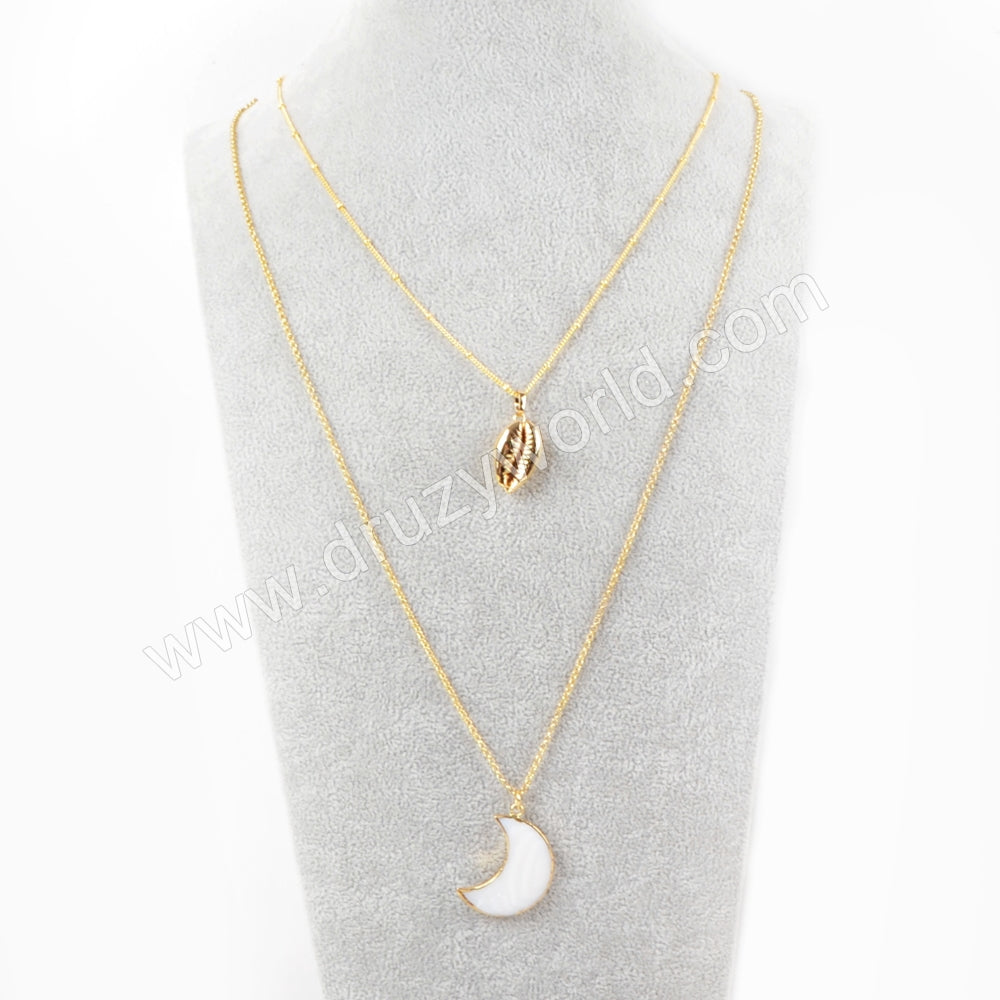 Pure Handmade Natural Shell Layer Chain Necklace G1671