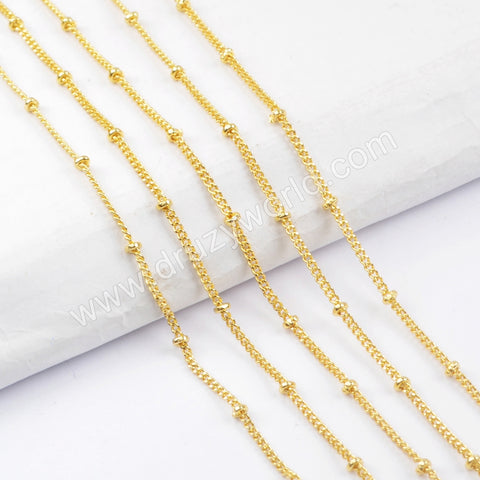 "17"" Gold Plated Brass Gold Beads Chain Necklace PJ168"