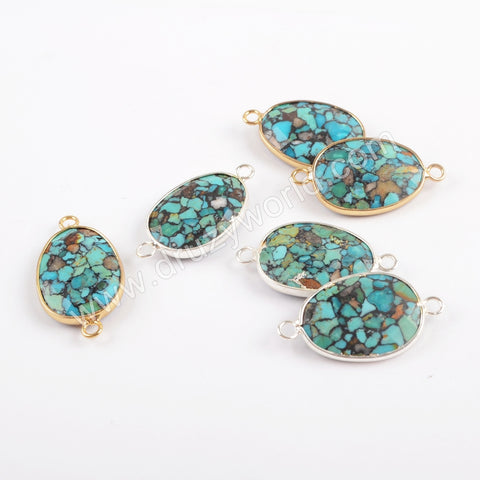 Gold Plated Copper Natural Turquoise Faceted Connector G1716