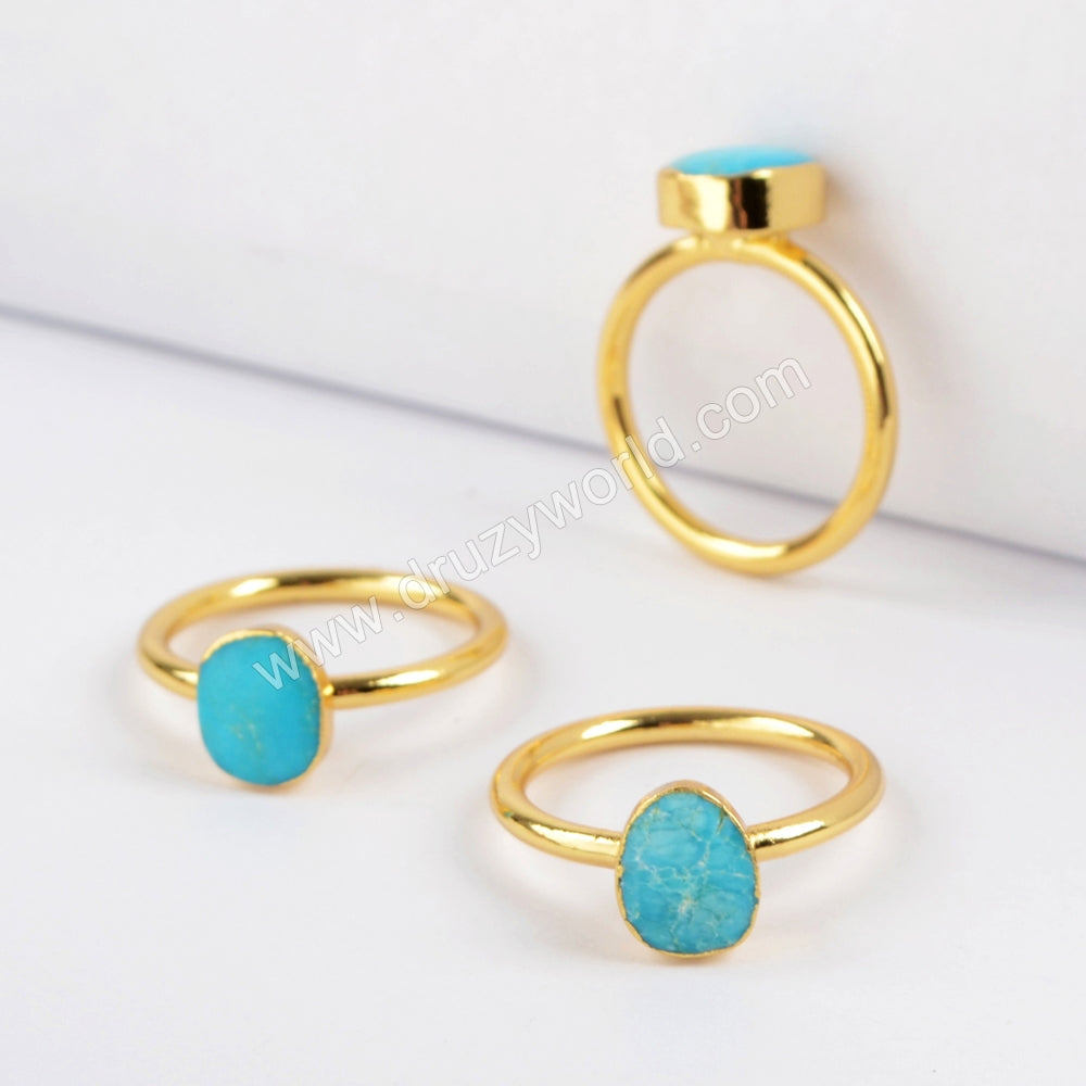 Gold Plated Freeform Natural Turquoise Ring G1513