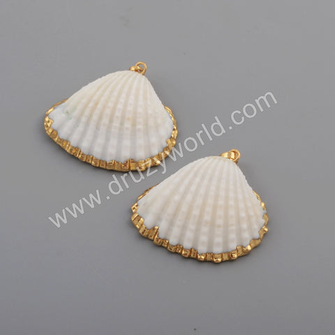 Gold Plated Natural White Shell Pendant Beach Shell Summer Jewelry Making G1776