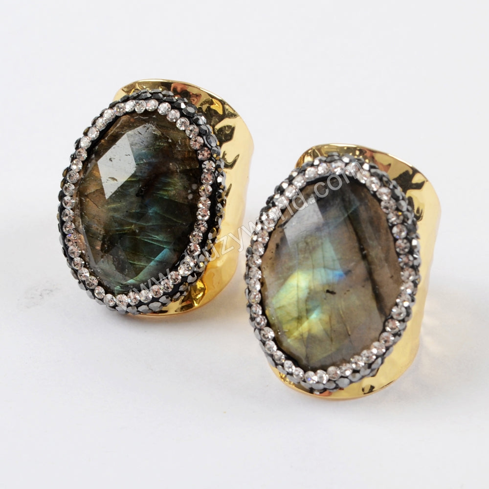 Rhinestone Pave Oval Gemstone Ring JAB931