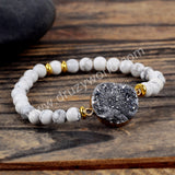Galaxy Quartz Howlite Turquoise Beads Bracelet Gold Plated HD0210