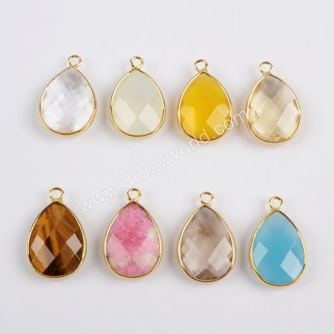 Gold Plated Teardrop Multi Kind Stones Faceted Charm G1442