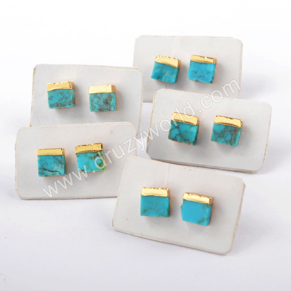 Boho Chic 18K Gold Plated 7mm Square Natural Turquoise Studs For Ladies Jewelry G1647