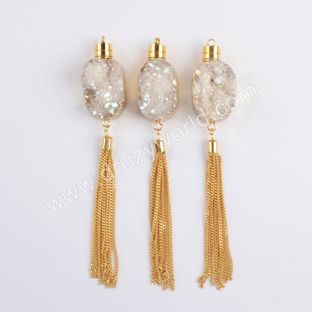 Gold Plated LED Light Titanium Natural Druzy Rose Quartz Crystal Tassels Charm G1981