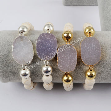Gold Plated Natural Agate Druzy With Faceted White Howlite Turquoise Beads Bracelet G1398