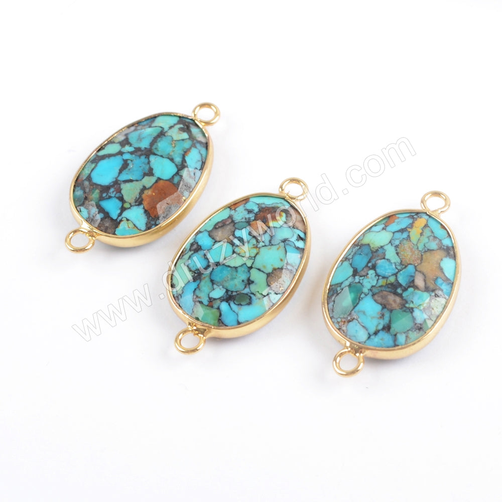 Copper Natural Turquoise Faceted Connector Fashion Jewelry Silver Plated S1716