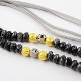 "31"" Leather larvikite & Dalmatian Jasper Beaded Gray Tassel Necklace G1548"