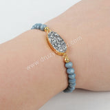 Oval Gold Plated Natural Agate Titanium Rainbow Druzy With Rainbow Faceted Beads Bracelet G1282