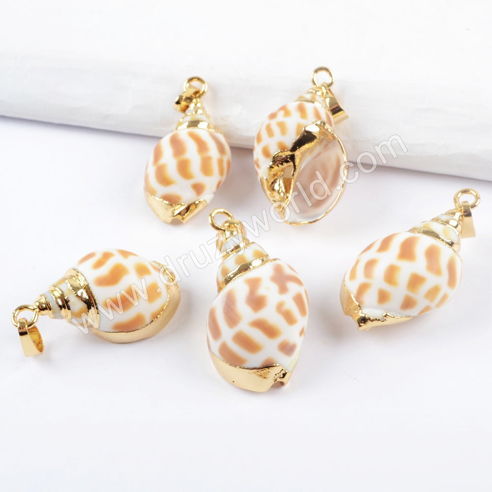 Gold Plated Natural Conch Shell Pendant For Vintage Jewelry Making Summer Chic Gift G1658