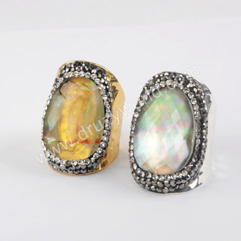 Abalone Shell Glass Rhinestone Ring For Women 18K Gold Silver Plated JAB977