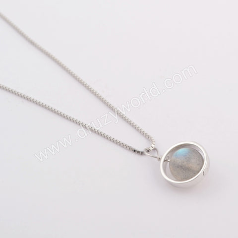 Silver Plated Round Necklace WX1159