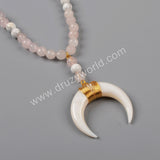 Gold Plated Wire Wrap White Shell Horn Necklace With White Howlite Turquoise And Rose Quartz Beads G1161
