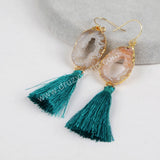 Gold Plated Natural Druzy Slice Rainbow Tassel Earrings G1235