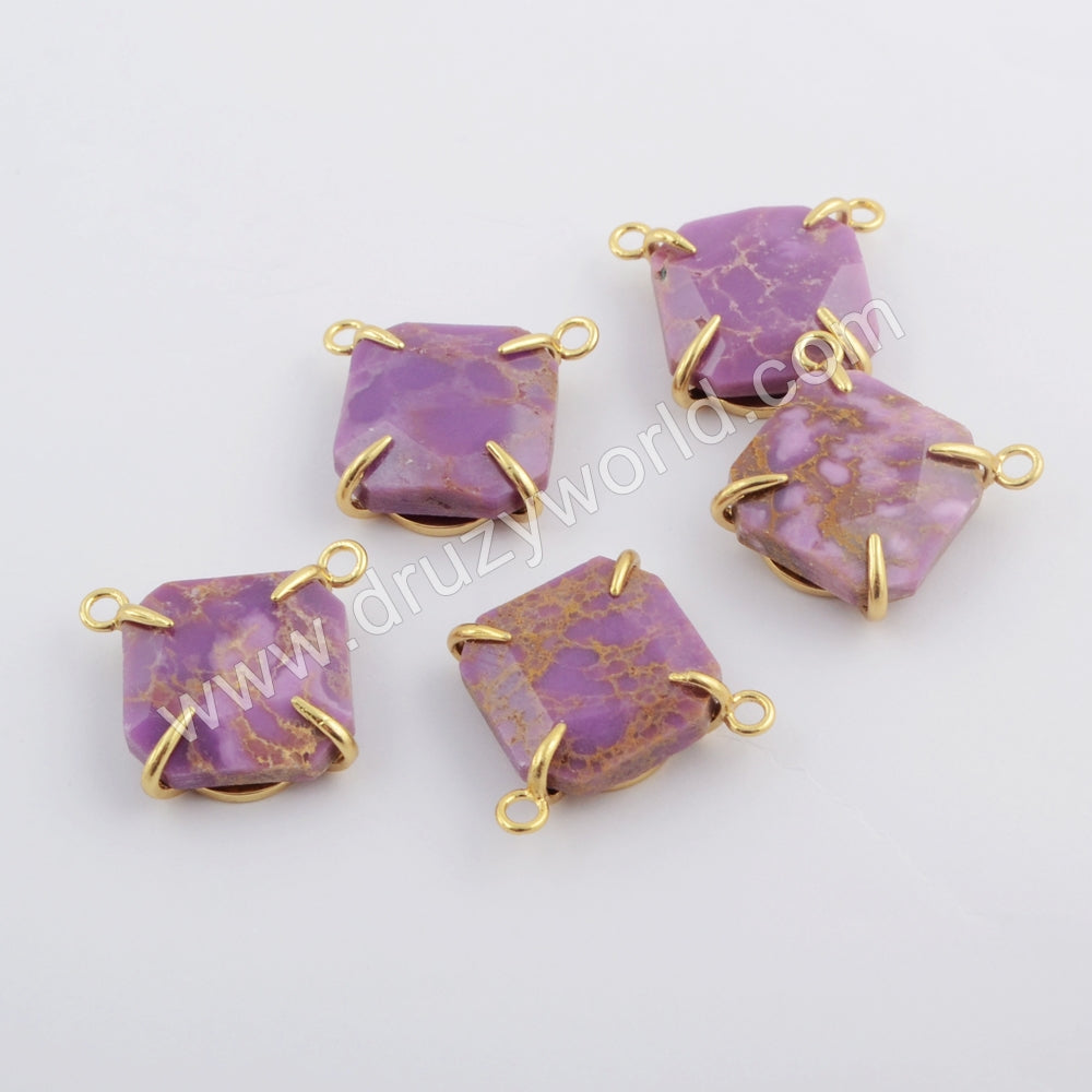 Square Gold Plated Claw Muscovite Sugilite Connector ZG0417