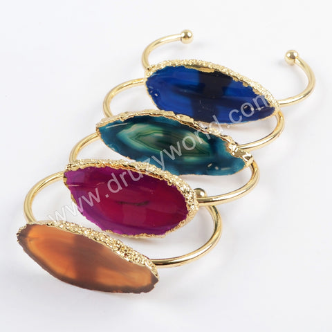 Gold Plated Free Shape Slice Agate Bangle WX1053
