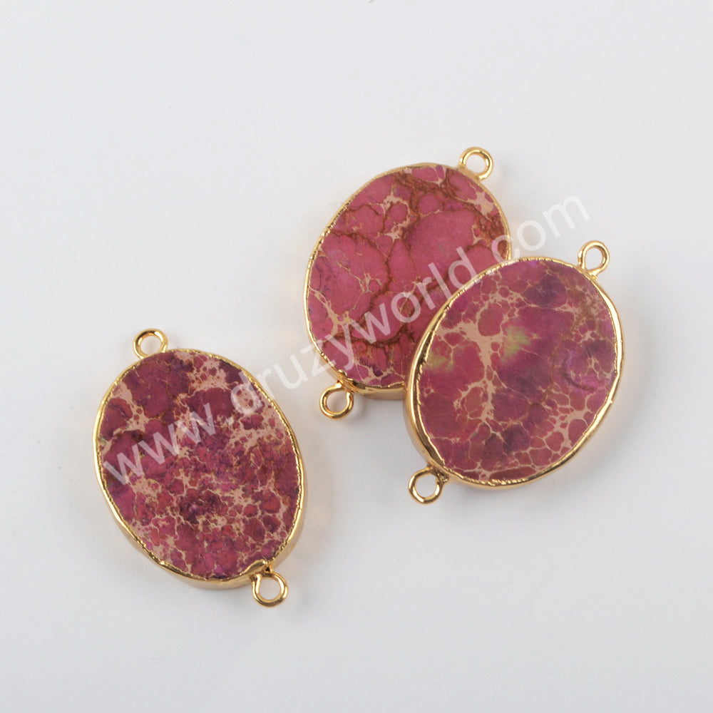 Sea Sediment Jasper Connector Fashion Jewelry Making Gold Plated G1958
