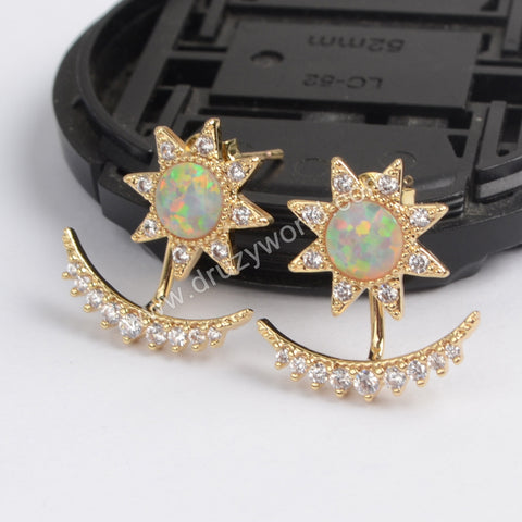 Gold Plated Bezel Star White Opal CZ Moon Studs ZG0216