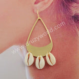 Gold Plated Teardrop Natural Cowrie Shell Dangle Earrings G1785