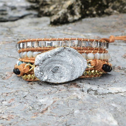Boho Gold Plated Natural Druzy Stone Beads Bracelet Vintage Leather Wrap Bracelet HD0046