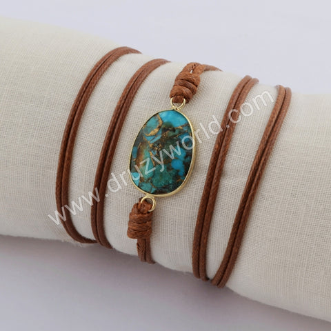 Gold Plated Copper Turquoise Wrap BraceletHD0023