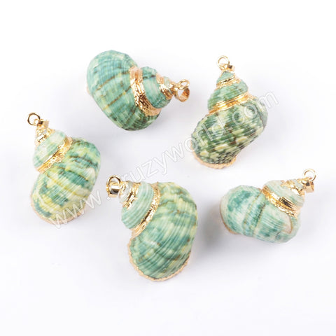 Gold Plated Green Natural Conch Sea Shell Pendant For Handmade Necklace G1659