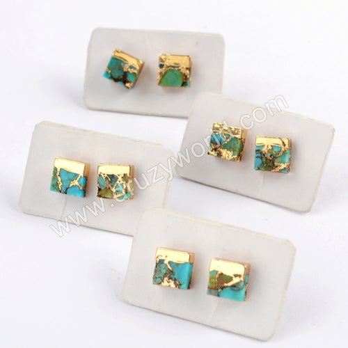 7mm Copper Turquoise Gemstone Stud Earrings Gold Plated G1648