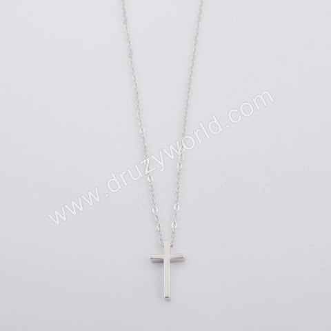 Silver Plated Cross Necklace WX1160