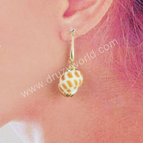 Gold Plated Whole Ammonite Fossil Earrings G1732