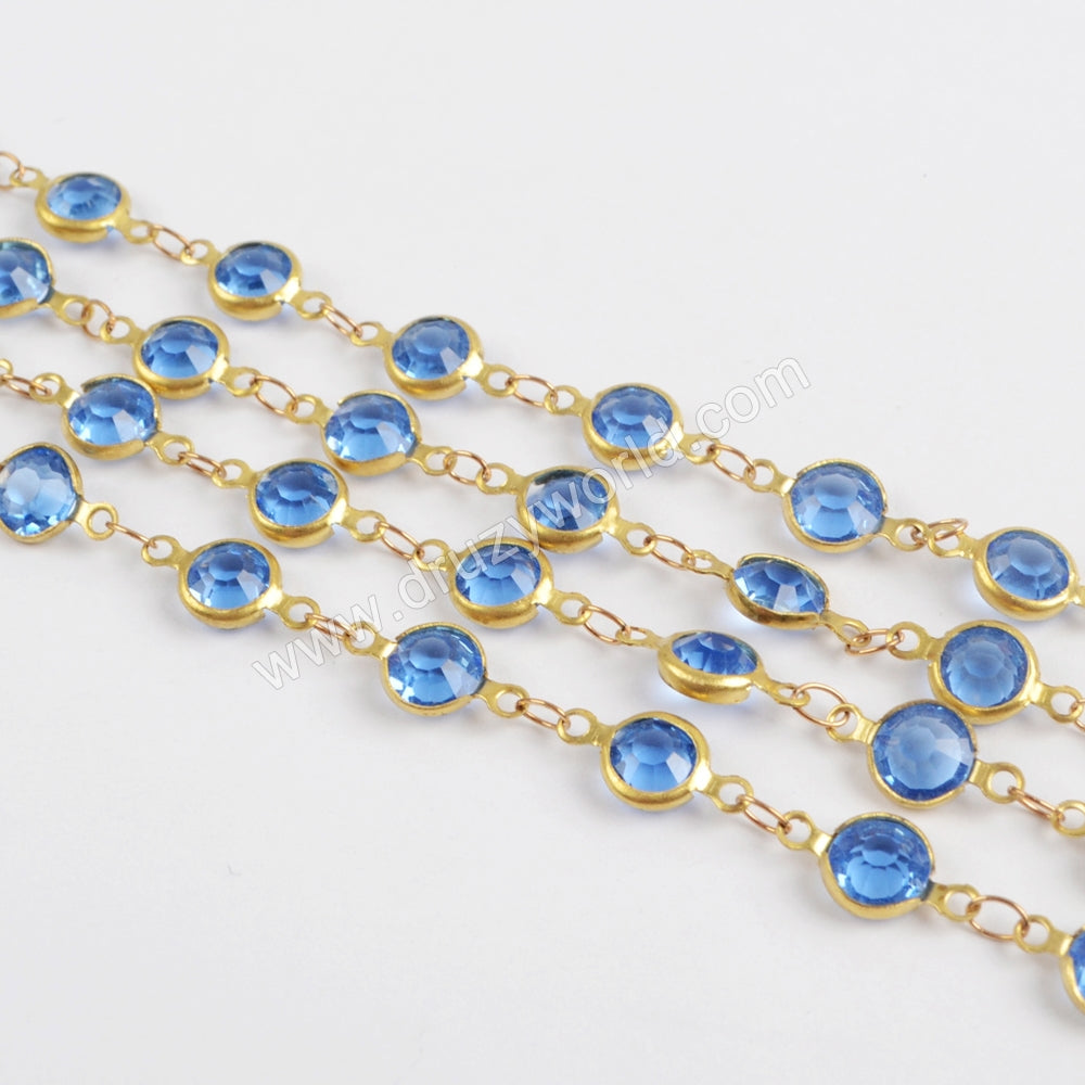 5m/llot,Gold Plated 7mm Light Blue Crystal Faceted Coin Rosary Chains JT189
