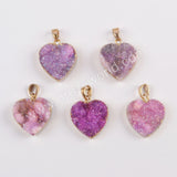Heart Gold Plated Natural Agate Titanium Purple Druzy Pendant G1829