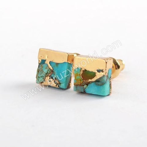 Tiny Gold Plated 7mm Square Copper Gemstone Turquoise Studs Gift For Her G1648