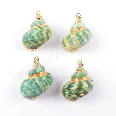 Gold Plated Green Natural Conch Sea Shell Pendant For Handmade Summer Jewelry G1659