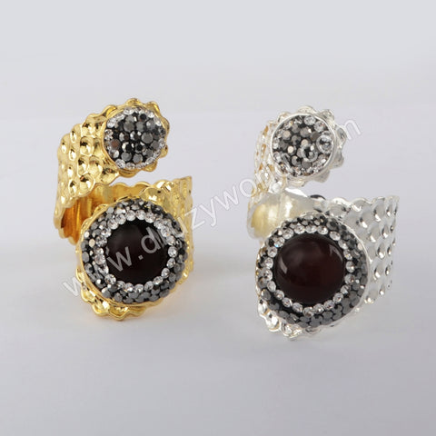 Natural Red Agate Rhinestone Wrap Ring Wholesale 18K Gold Silver JAB978