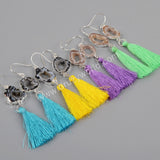 Natural Druzy Slice Rainbow Tassel Earrings Silver Plated S1235