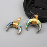 Wire Wrap Double Horn Gold Pendant G1123