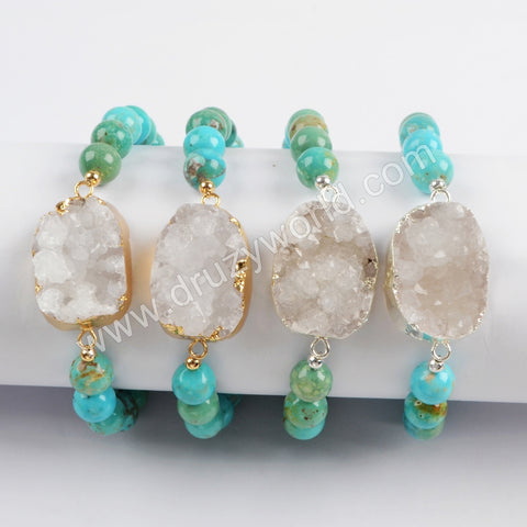 Gold Plated Natural Agate Druzy With 8mm Turquoise Beads Bracelet G1733