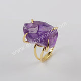 Natural Amethyst Claw Adjustable Ring For Women Silver Plated ZS0441