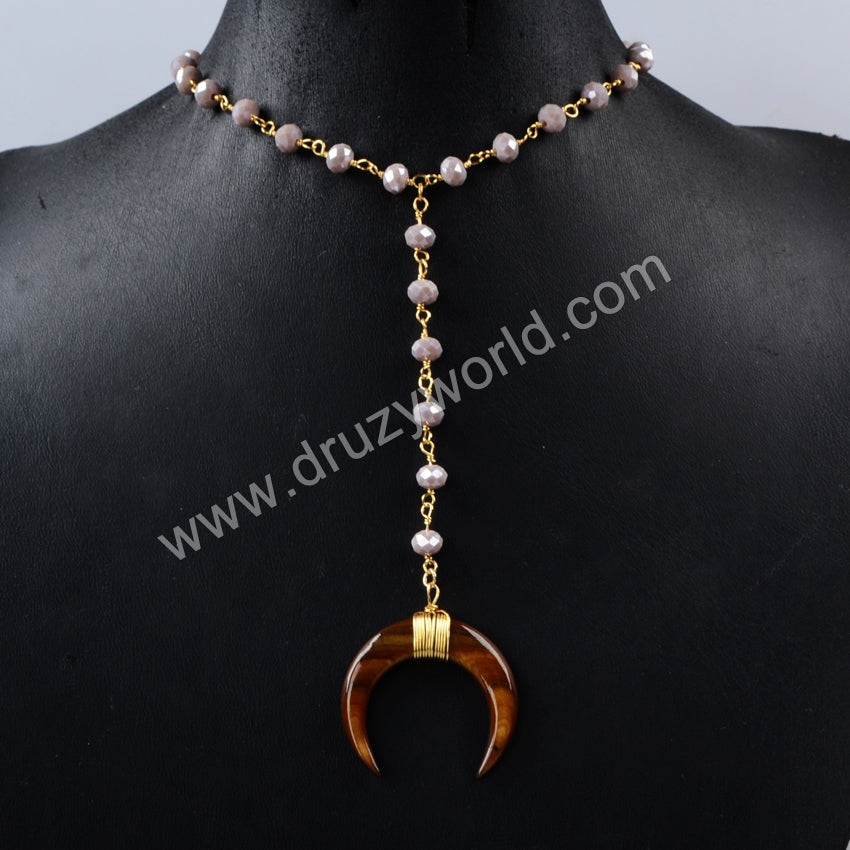 Gold Plated Wire Wrap Brown Shell Horn Necklace With Grey Quartz Faceted Beads G1162
