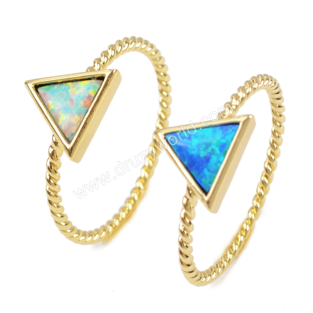 Gold Bezel Triangle White Opal Ring ZG0246
