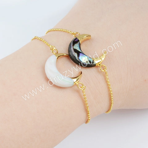 Gold Plated Abalone Shell Adjustable Bracelet G1718