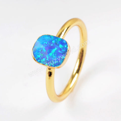 Gold Plated Blue Opal Ring G1515
