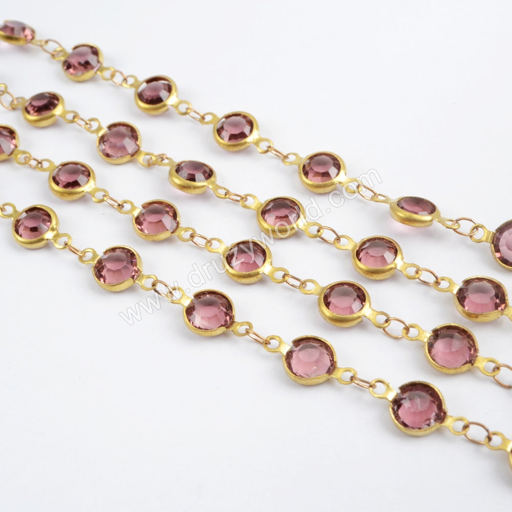 5m/llot,Gold Plated 7mm Light Purple Crystal Faceted Coin Rosary Chains JT190