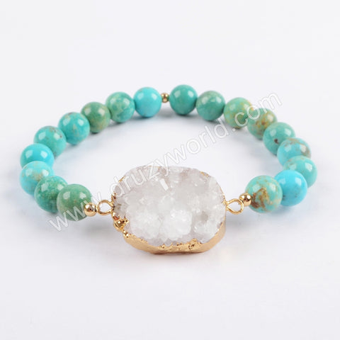 Natural Agate Druzy With 8mm Turquoise Beads Bracelet Silver Plated G1733
