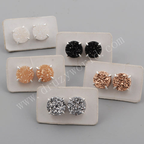 10mm Claw Natural Titanium Druzy Stud Earrings Silver Plated ZS0132
