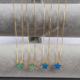 Gold Plated Star White Opal Necklace G1496