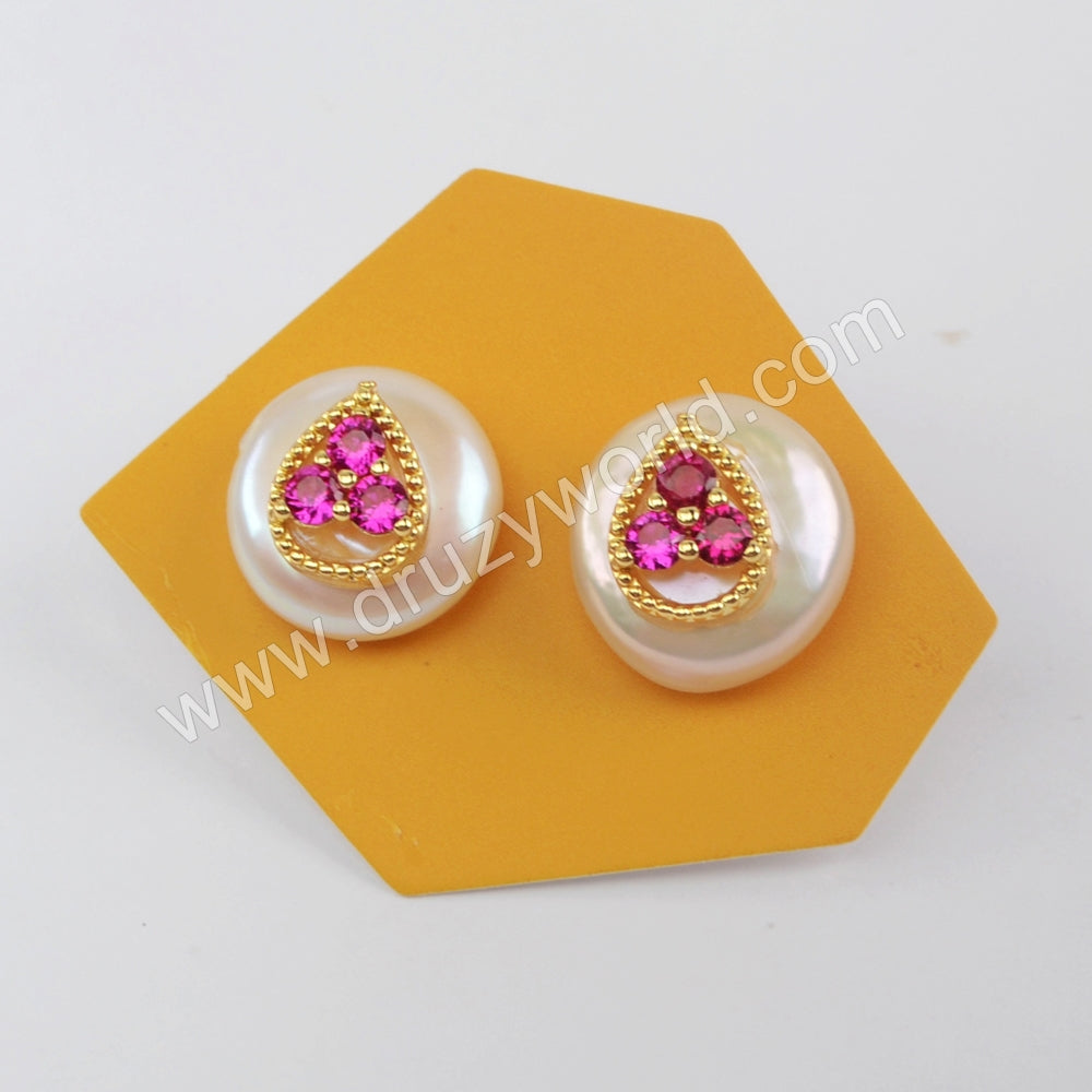 Natural Pearl With Multi CZ Studs WX1227