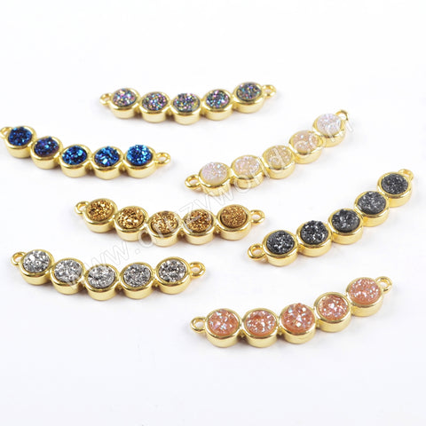 Five Round Druzy Beads Gold Bezel Stone Connector For Handmade Gemstone Craft WX1036