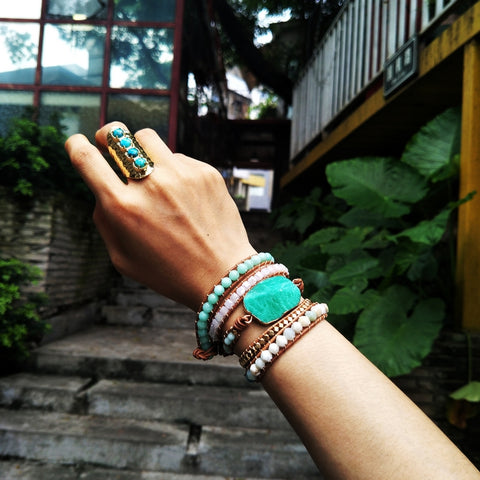 Boho Gold Plated Green Amazonite Stone Beads Bracelet Vintage Leather Wrap Bracelet HD0078